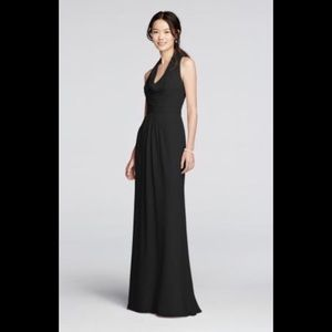 Long Black Chiffon Dress with Front Cowl Neckline